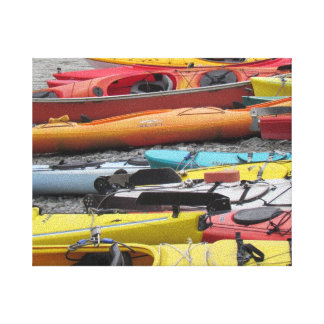 Colorful Kayaks on the shore Canvas Print