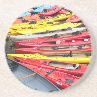 colorful Kayaks Sandstone Coaster