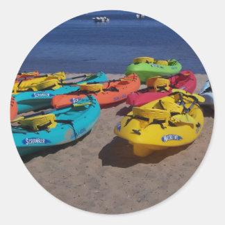 Colorful Kayaks Classic Round Sticker