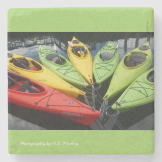 Colorful Kayaks Stone Coaster