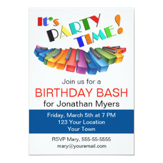 Colorful Keyboard Birthday Party Card