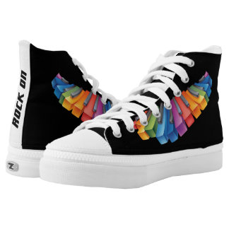 Colorful Keyboard Rock Star High-Top Sneakers