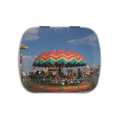 Colorful kid ride at fair jelly belly candy tins