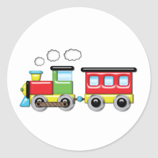 Colorful Kid;s Locomotive & Caboose Classic Round Sticker