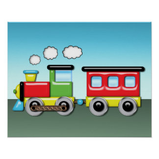 Colorful Kid;s Locomotive & Caboose Poster