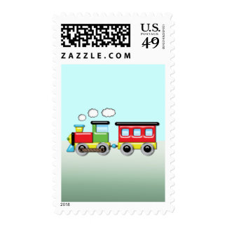 Colorful Kid;s Locomotive & Caboose Stamp