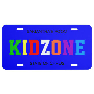 Colorful Kid Zone License Plate