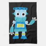 Colorful Kids Blue Robot Hand Towels