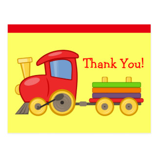 Colorful Kid's Cartoon Toy Train Custom Thank You Post Card