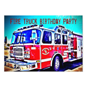Colorful Kids Fire Truck Birthday Party Invitation 5