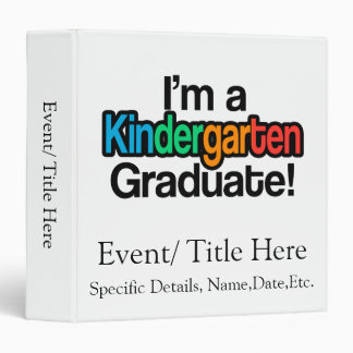 Colorful Kids Graduation Kindergarten Graduate 3 Ring Binders