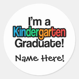 Colorful Kids Graduation Kindergarten Graduate Classic Round Sticker