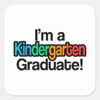 Colorful Kids Graduation Kindergarten Graduate Square Sticker