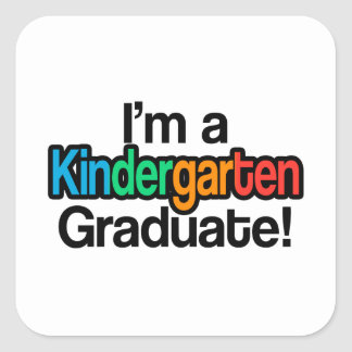 Colorful Kids Graduation Kindergarten Graduate Square Stickers