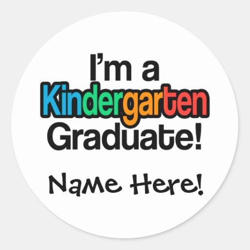 Colorful Kids Graduation Kindergarten Graduate Round Stickers
