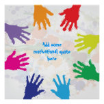 Colorful kids handprints square poster print