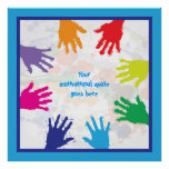 Colorful kids handprints with blue borders posters