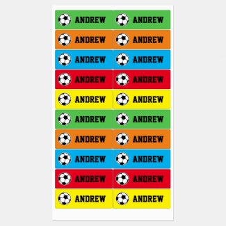 Colorful kid's labels with soccer ball logo & name