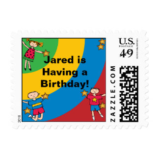 Colorful Kids Postage Stamps