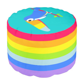 Colorful kids rainbow striped toucan graphic pouf round pouf