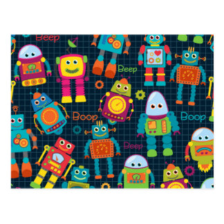 Colorful Kids Robot Postcard
