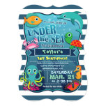 Colorful Kid&#39;s Sea Life Birthday Party Invitation<br><div class='desc'>Happy Birthday! Super cute, kid&#39;s fun sea life, under the ocean nautical theme neutral birthday party invite on midnight blue and white stripes with bright colors for boy or girl. Colorful, aquatic, cartoon sea creatures include aqua and yellow octopus, green and orange sea turtle, teal and orange fish, turquoise dolphin,...</div>