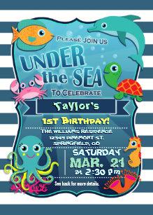 Colorful Kids Sea Life Birthday Party Invitation