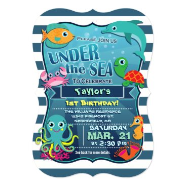 Card_Stop Colorful Kid's Sea Life Birthday Party Invitation