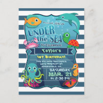 Colorful Kid's Sea Life Birthday Party Invitation