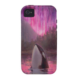 Colorful Killer Whale and Pink Aurora Orca iPhone Case-Mate iPhone 4 Case