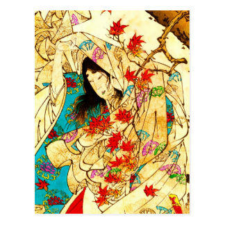 Colorful kimono and swirling maple leaves postcard