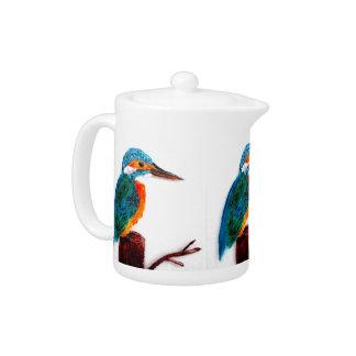 Colorful KIngfisher Bird Art Teapot