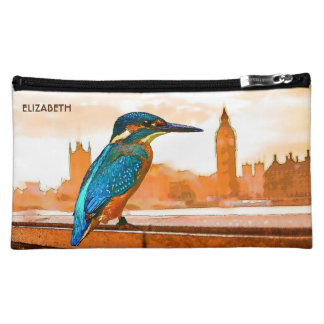 Colorful Kingfisher Bird With London Skyline Cosmetic Bag