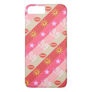 Colorful Kisses Hearts Suns Stripes Pattern iPhone 7 Plus Case