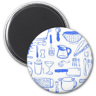 Colorful Kitchen Pattern 2 Inch Round Magnet