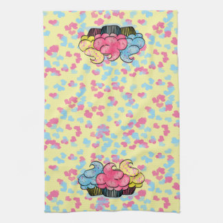 Colorful Kitchen Towel with Cupcakes & Hearts