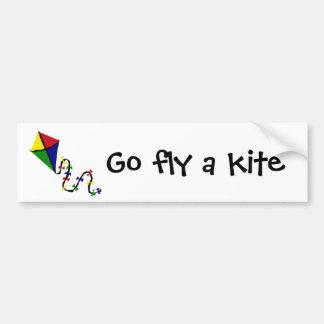 Colorful Kite Flying Art Bumper Sticker