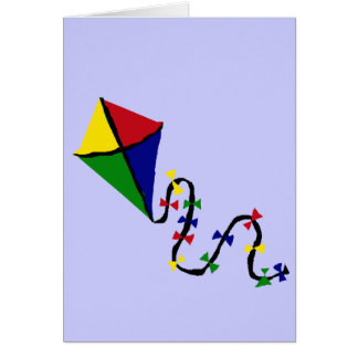 Colorful Kite Flying Art Card