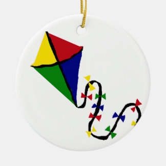 Colorful Kite Flying Art Ceramic Ornament