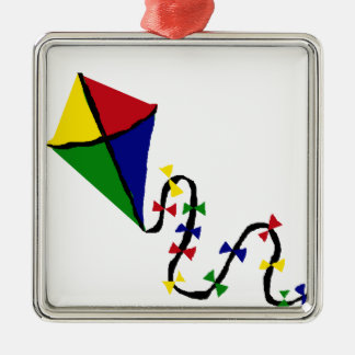 Colorful Kite Flying Art Metal Ornament
