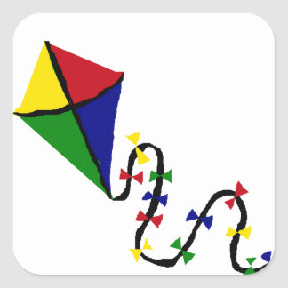 Colorful Kite Flying Art Square Sticker
