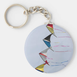 colorful kites flying in the sky keychain