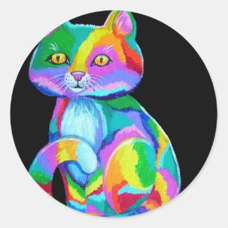 Colorful Kitten Classic Round Sticker