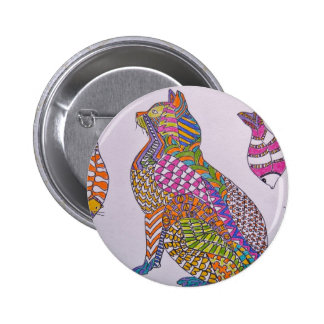 Colorful Kitty Pinback Button