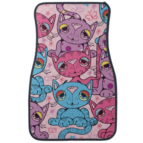 Colorful Kitty Cat Pattern Graphic Design Car Mat