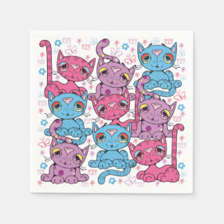 Colorful Kitty Cat Pattern Graphic Design Napkin