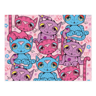 Colorful Kitty Cat Pattern Graphic Design Postcard