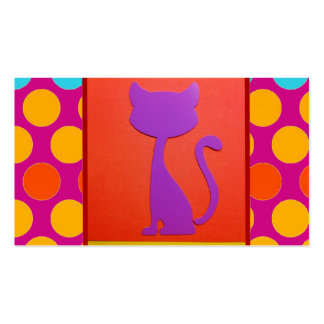 Colorful Kitty Cat Polka Dot Pattern Business Card Templates