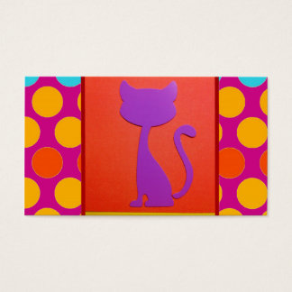 Colorful Kitty Cat Polka Dot Pattern Business Card