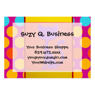 Colorful Kitty Cat Polka Dot Pattern Business Cards